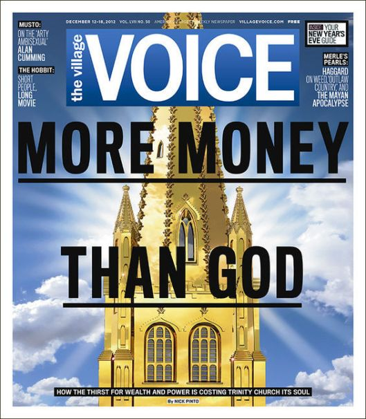 Village Voice front cover for the December 12-18, 2012 issue.